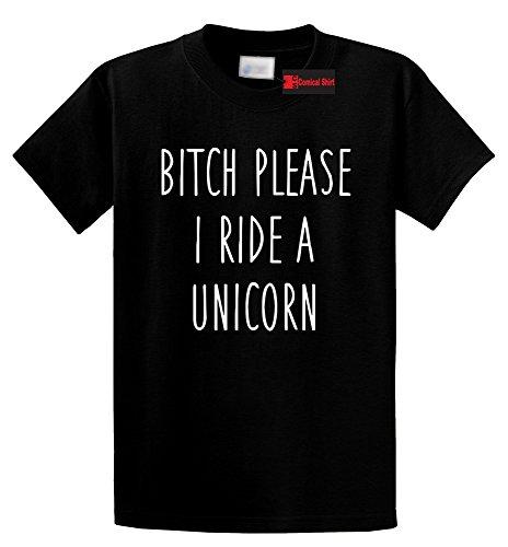 Ride Heavyweight T-shirt (Comical Shirt Men's Bitch Please I Ride A Unicorn Funny T Shirt Black XL)
