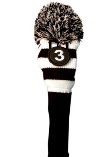 Majek #3 Fairway Metal Wood Black & White Golf Headcover Knit Pom Pom Retro Classic Vintage Head Cover