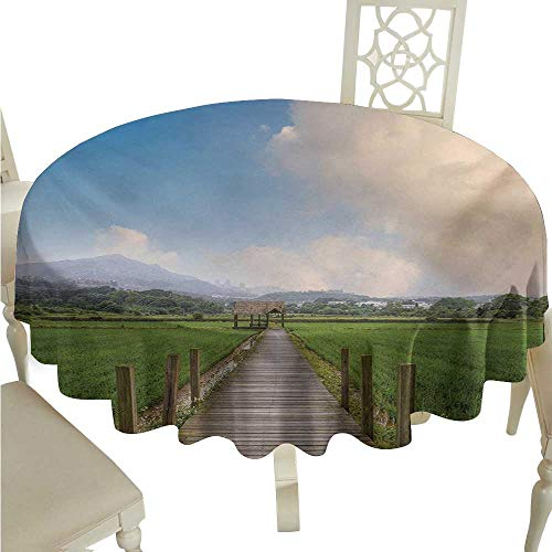 Waterproof Tablecloth Country Farm Scenery with Wooden Path and Barn Yard Cloudy Sky Nature Theme Picture Table Decoration D60 Suitable for picnics,queuing,Family]()