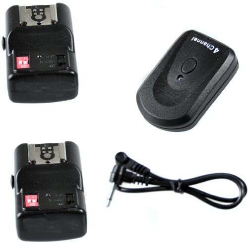 CowboyStudio NPT-04 4 Channel Wireless Trigger for External Speelights with 1 Trigger and 2 Receivers (NPT-04+extra receiver)