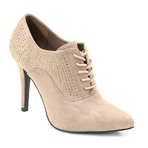 Brieten New Womens High Heel Punta A Punta Stivaletti Cammello