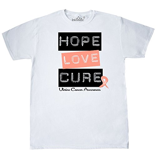 inktastic - Uterine Cancer Hope Love Cure T-Shirt Large White - HDD