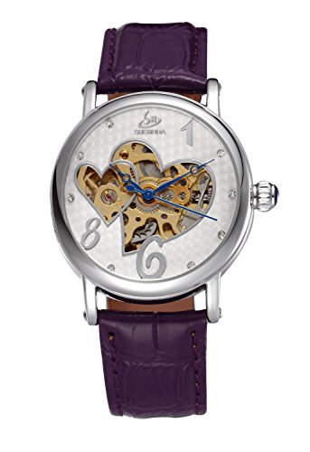 Carrie Hughes Women's Double Heart Rhinestone Skeleton Mechanical Leather Automatic Watch Gift CH57 (Womens Heart Series Watch)