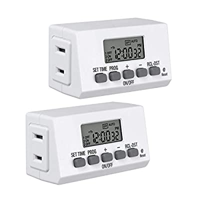 Century Mini Indoor Easy Set Stackable 24-Hour Digital Outlet Timer 2-Prong 2 On/Off Programs (2 Pack) Compact For lights lamps fans accurate 8A/1000W 1/3HP