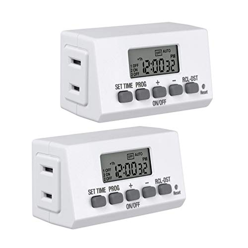 Century Mini Indoor Easy Set Stackable 24-Hour Digital Outlet Timer 2-Prong 2 On/Off Programs (2 Pack)