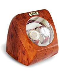 Burl Wood Finish Double Watch Winder Off-White Leather 4 Settings