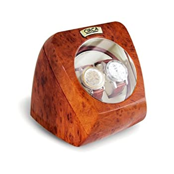 CIRCA Burl Wood Finish Double Watch Winder Off-White Leather 4 Settings
