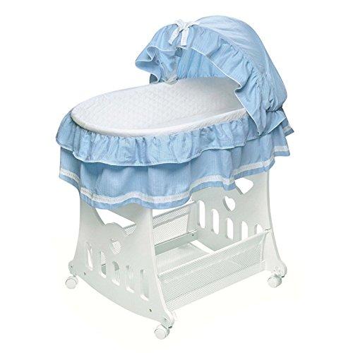 Badger Basket - Portable Bassinet with Toy Box Base and Blue Bedding by Badger Basket
