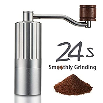Super Smoothly Manual Coffee Grinder, 24 Seconds Easy Grinding, Upgrade with Double Bearing Stable Grinding, Adjustable Stainless Steel Core, Pure Copper Anti-Static Gasket, Aluminum Alloy Overall Body. Save Your Energy, Enjoy the Best Coffee Grinding Experience, Upscale Gift Home Kitchen Travel Coffee Maker by COSA MEJOR