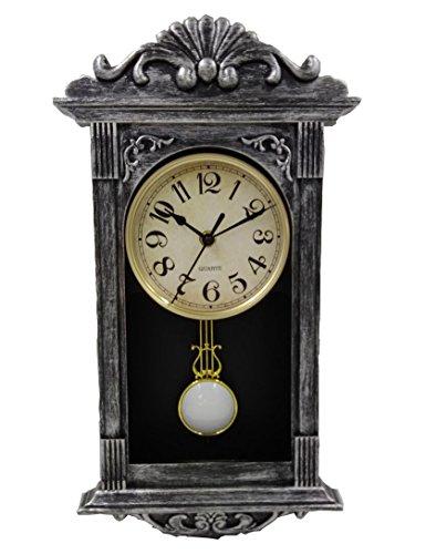 YAVIS Retro Antique Nordic Grandfather Pendulum Wall Clock,Plastic 41x22x7cm Brush Silver