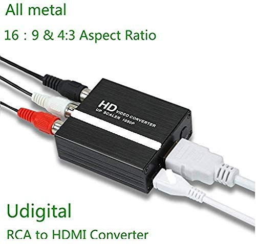 RCA to HDMI,Udigital mini RCA AV to HDMI Audio Video Adapter Converter could change aspect ratio 16:9 and 4:3 for PC Laptop Xbox PS4 PS3 HDTV STB VHS VCR Camera DVD USB Cable All metal Black ()