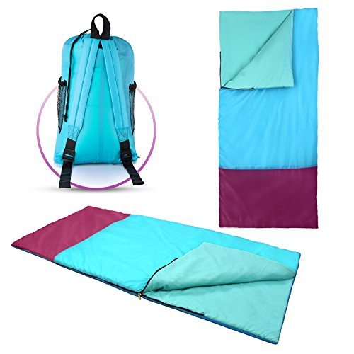 Kids or Children's Junior Sleeping Bags – Polyester Ultralight Sleeping Bag for Camping & Hiking – Withstands Extreme Temp. of 32-60°F – Includes Backpack for Storage & Carrying – DiZiSports Store