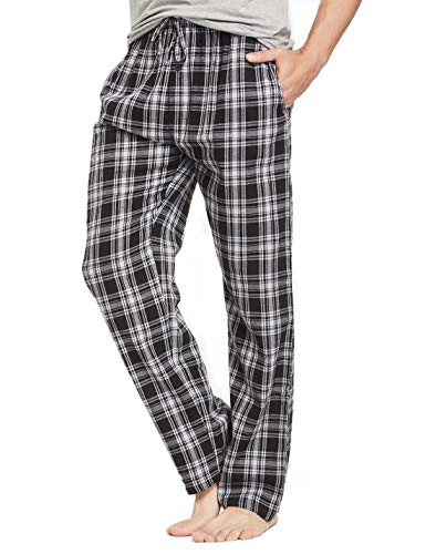 CYZ Men's 100% Cotton Super Soft Flannel Plaid Pajama Pants-BlackWhiteVintage-L (Personalized Christmas Pajamas)