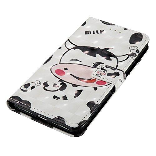 Para iPhone 7 Plus (5,5 zoll) funda, (mariposas) pintura 3D caja del teléfono de la PU patrón en relieve ,Función de Soporte Billetera con Tapa para Tarjetas correa de mano soporte para teléfono vaca lechera