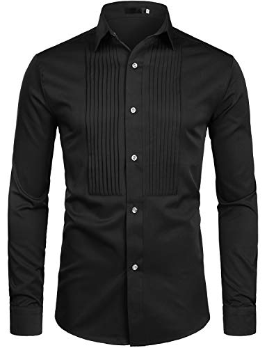 ZEROYAA Mens Slim Fit Long Sleeve Tuxedo Dress Shirts/Prom Performing Shirts Z54 Black Medium
