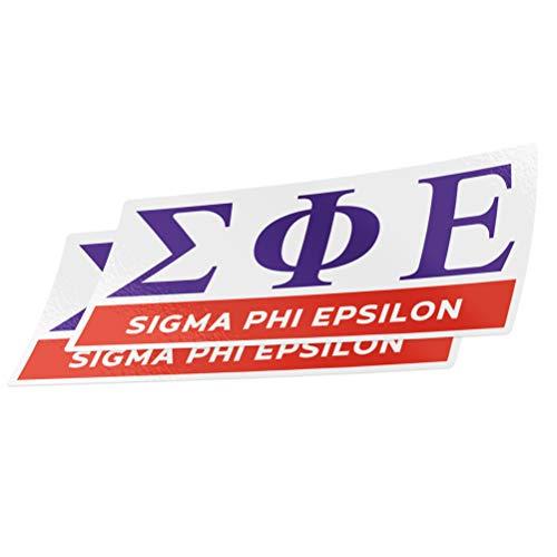 (Sigma Phi Epsilon 2-Pack Color Letter/Name Sticker Decal Greek for Window Laptop Computer Car sig ep (Color/Letter Name Sticker))