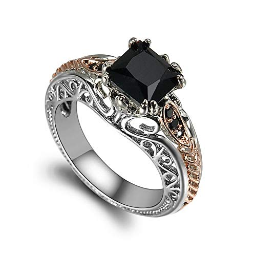 (Crookston Fashion Women 925 Silver Rings Black Sapphire Jewelry Wedding Rings Size 6-10 | Model RNG - 2594 | 6)