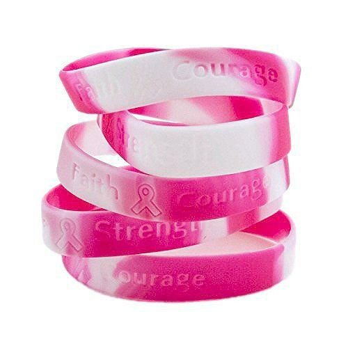 (Ifavor123 Pink Ribbon Camouflage Breast Cancer Awareness Bracelets - 48 Pack)
