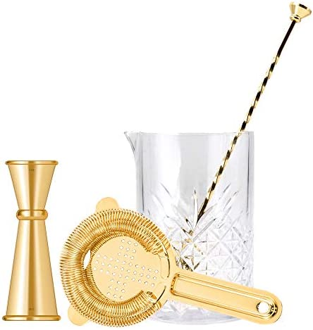 Homestia 4 Pcs Crystal Mixing Glass Set includes 24oz Thick Bottom Seamless Mixing Glass, Cocktail Strainer, Double Jigger, Muddle Spoon Bar Kit Gift Set, Gold