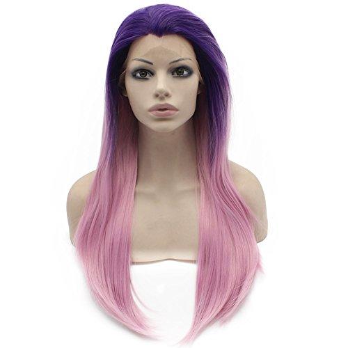 Iwona capelli fibra resistente al calore blu radice rosa ombre straight synthetic Lace Front parrucca Cosplay