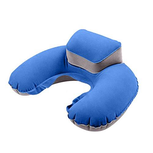 Voberry- Inflatable Travel Pillow, Neck Pillow U Shape Blow Up Neck Cushion PVC Flocking Outdoor Pillow (Blue) ()