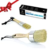 Professional Chalk Paint and Wax Brush Set (Round) Large DIY Painting and Waxing Tool | Smooth, Natural Bristles | Annie Sloan, Folk Art, Home Décor, Wood Projects, Furniture, Stencils | Reusable