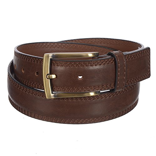 - Sunny Belt Mens 1 ¼ Inch Wide Brown Faux Leather Belt With Polished Brass Buckle (Size 34)