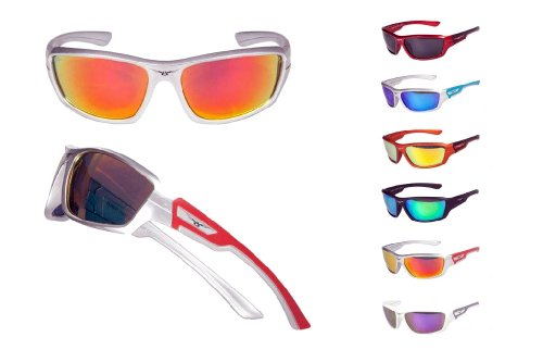 Polarized Sport Sunglasses by Calabria 8002 Surge in Matte Silver & Red - Surge Sunglasses