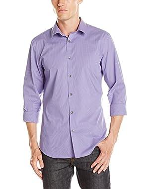 Calvin Klein Men's Micro Check Poplin Long Sleeve Woven Shirt