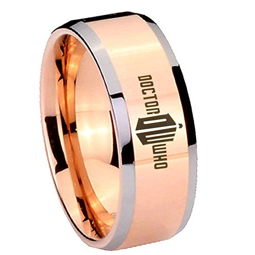5MM Tungsten Carbide Dr Who Doctor Time Design Bad Wolf Rose Gold Silver Edges Engraved Ring Size 8