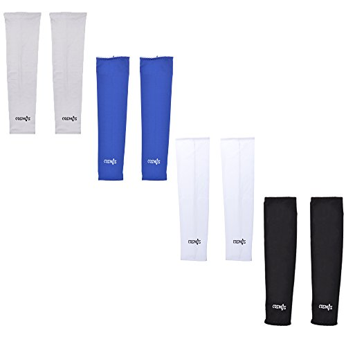 Cosmos 4 Pairs Different Color UV Protection Cooler Arm Sleeves for Bike Cycling Hiking (Cosmo Framed)