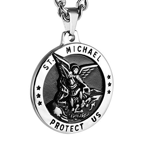 Child Medal Pendant - HZMAN St Michael The Archangel Catholic Medal Stainless Steel Amulet Pendant Necklace