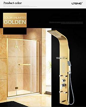Shower system Panel de Ducha Oro/Negro/Plata/Negro Cabezal de ...