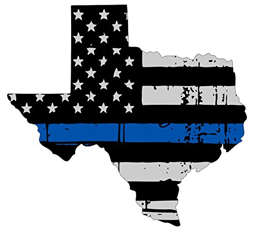 Texas tattered thin blue line us flag honoring our men & women of law enforcement car symbol sticker decal die cut vinyl window computer - Made and Shipped in ()