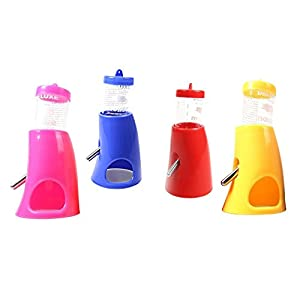Puppy Pet Hideout Drinking SOMAN 2-in-1 Water Bottle with Base Hut for Small Animals Random Color