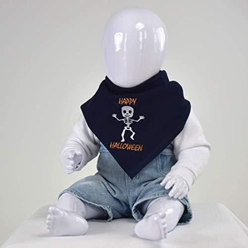 (Nuschel Burp Cloth & Bib - Navy with ''Happy Halloween Skeleton'' Embroidery Design)