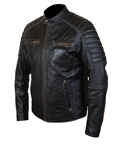 Cafe Genuine Racer F Shoulders Men's Cowhide Black amp;h Leather Jacket Ribbed IxpFF1w0qf
