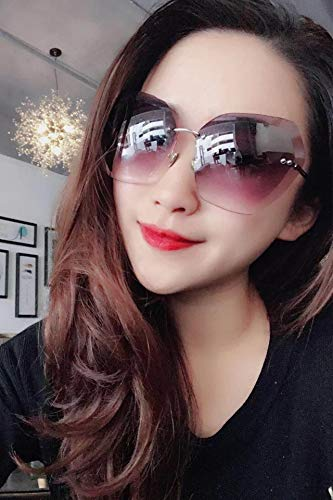 Miss fang xing Unique Polygon Trimming Sunglasses Lens Metal Round Rimless Glasses Gradient Gray uv Significantly Small face Glasses Holiday Trips (Gray and Purple Pieces
