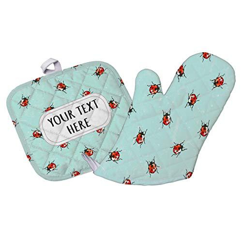 Polyester Oven Mitt & Pot Holder Set Custom Ladybugs Seemless Pattern B Adults Heat Resistant Pads (Oven Ladybug Mitt)