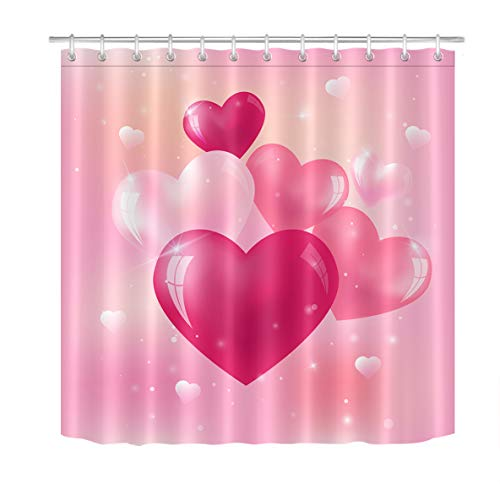 LB Valentines Day Shower Curtain Set Bright Glass Hearts in Pink Bathroom Curtain with Hooks 72x72 inch Waterproof Polyester Fabric Bathroom Decorations