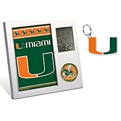 WinCraft University of Miami Hurricanes Desk Clock & Key Chain Gift Set
