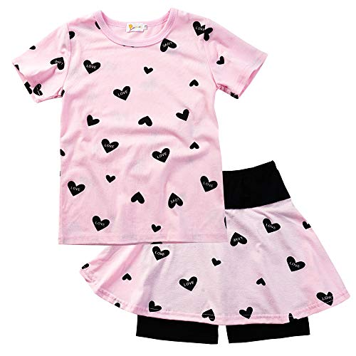 Toddler Girl Summer Outfits Heart Print Top and Shorts Clothing Set Pink