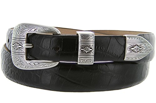 Silver Mesa - Men's Italian Calfskin Designer Dress Golf Belt with Western Silver Plated Buckle Set (36 Alligator Black)