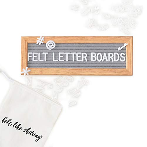 Gray Felt Letter Board 10x3.5 inches. Changeable Letter Boards Include 150 3/4'' White Plastic Letters & Oak Frame. by Felt Like Sharing