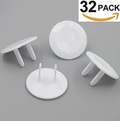 Outlet Plug Covers (32 Pack) White Child Proof Electrical Protector Safety Caps by Jool Baby Products