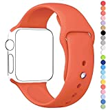 Apple Watch Band, HuanlongTM Soft Silicone Sport Style Replacement Iwatch Strap for Apple Wrist Watch (Orange 38mm S/m)