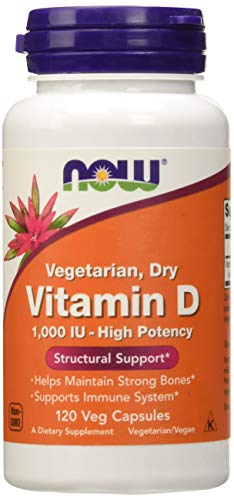 NOW Vitamin D 1,000 IU Dry, 120 Veg Capsules