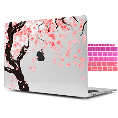 (Dongke Beautiful Printing Cherry Blossoms Desgin Crystal Clear Plastic Hard Sleeve Case Cover for Apple MacBook Air 11 inch model:A1465/A1370 with Gradient Keyboard Cover (Transparent) )