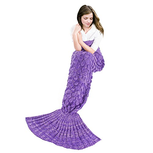 BATTOP Mermaid Tail Knitted Blanket for Adult- (Fish Scale Style, Purple)