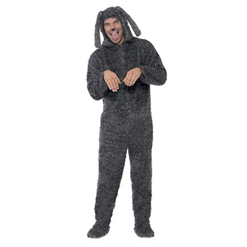 Smiffys Mens Fluffy Dog Costume, Hooded All in One, Party Animals, Serious Fun, Size L, 23605